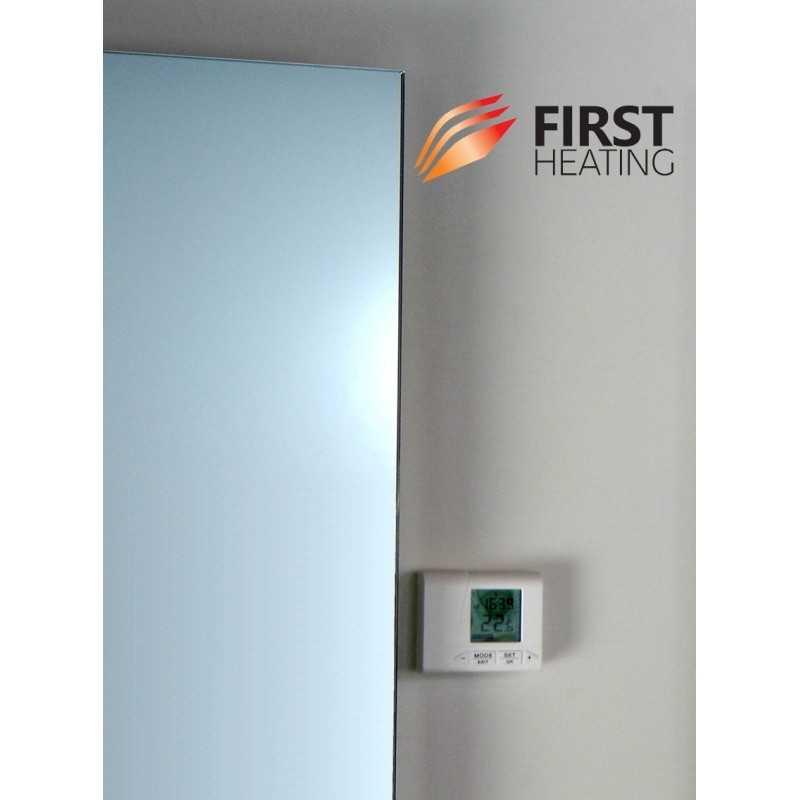 first heating wist elegant infrarot spiegelheizung mit thermostat. Black Bedroom Furniture Sets. Home Design Ideas