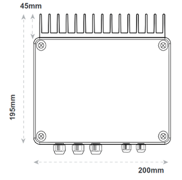 Abmessung / Dimensionen vom 4 kW Funk-Dimmer von Teleco